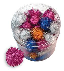 glitter pom poms 1 5 lots 5
