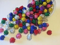 Glitter Sparkle Twinkle Pom Balls LOT OF 12 Cat & Kitten Toy