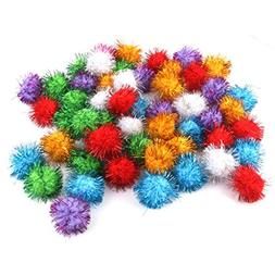 glitzy tinsel sprayed pompoms balls