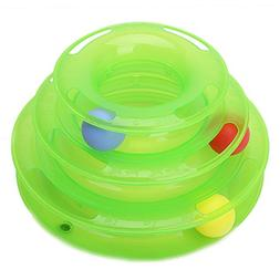 Qupida Cat Roller Tower 3-Level Round Tower Interactive Toys