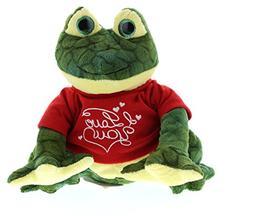 DolliBu Green Squat Frog I Love You Valentines Stuffed Anima