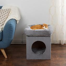 1 Piece Grey 20 Inches High Scratcher Cat Condo, Gray Tunnel