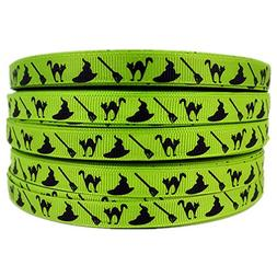 """3/8"""" 50 Yards Halloween Witch Cats Cartoon Printed Apple Gre"""