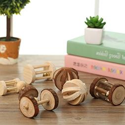 Be Good 5PCS Hamster Toys Set Natural Wooden Barrel Roller B