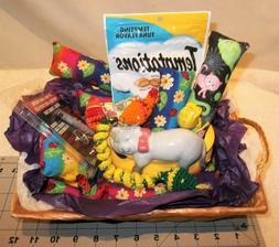Handmade Cat Lover Gift Basket Catnip, Crochet Toys Mat Trea