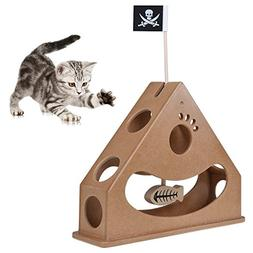 Peatcc Hide and Seek Cat Toy Box Wood Pendulum Style Interac