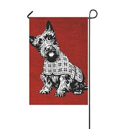 Home Decorative Outdoor Double Sided Scottish Dog Modern Red