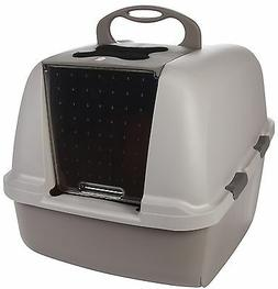 Hooded Cat Litter Box, Kitty Pan, Remove Odors, Door Covered