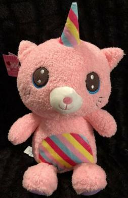 Hug Me Cuddly Companion Pink UNICORN Plush cat stuffed rainb
