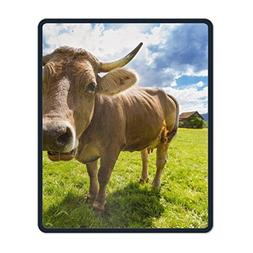 iFUOFF Mousepad, Non-Slip Rubber Mouse Pad Brown Cow in Gree