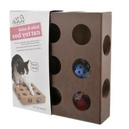 Cat Kitten Pet Toys Wood Square Box + Balls and Mouse Toys I