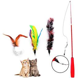 LUPAPA Interactive Cat Feather Toy,  Funny Cat Wand Chaser T