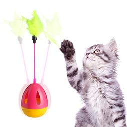 EZESO Interactive Cat Toys Feather Teaser Toy with Feathers