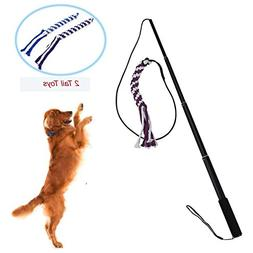 Wellbro Interactive Dog Extendable Teaser Wand, with 2 Rope