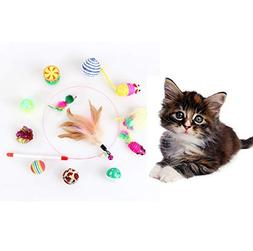 ZoyPet 12 Pcs Interactive Feather Cat Toys, Fluffy Plush Squ