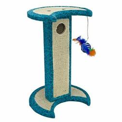 Penn Plax Cat Scratching Post Sisal with Swatting Toy, Blue