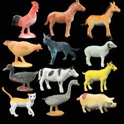 Kids Children 12PCS Mini Simulation Plastic Farm Animals Hor