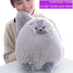 Winsterch Kids Fluffy Plush Cat Stuffed Cat Animal Toy Gray,