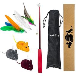 TEQIN 7in1 Kit Cat Toys Interactive Feather Teaser Wand Toy