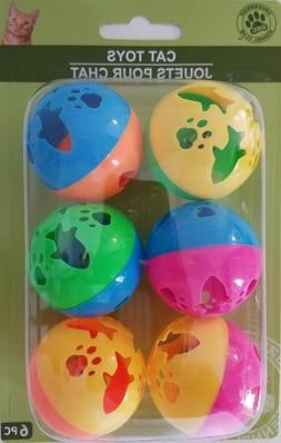 """Kitten Cat Kitty Toys Small 1.5"""" Plastic Ball w Bell, 6 To"""