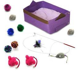 Kitten Cat Toy Cat Bed Starter Kit - Purple