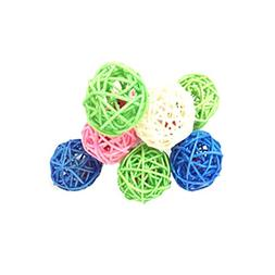 Kitten Puppy Pet Weave Rattan Bamboo Ball Toys Squeaking Int