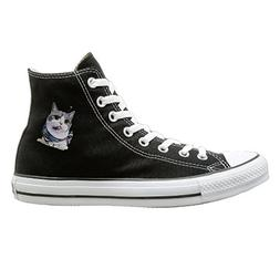 Shenigon Kitty Cat Canvas Shoes High Top Casual Black Sneake