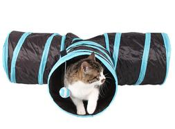 Kitty Cat Tube Play Toy With Ball Collapsible Connected Tunn