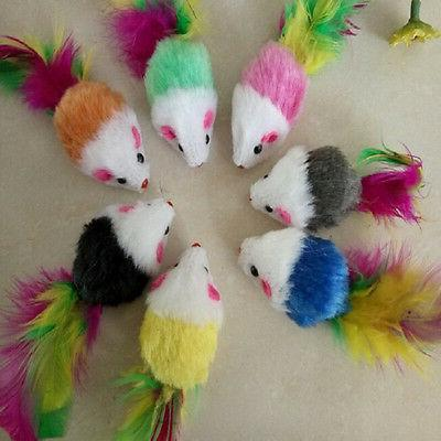1/5/10x Soft False Mouse Toys Feather Funny VB9