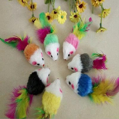 1/5/10x Soft Mouse Cat Feather Toy VB9