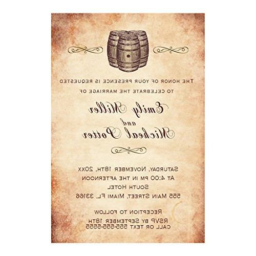 100 wedding invitations wine barrel