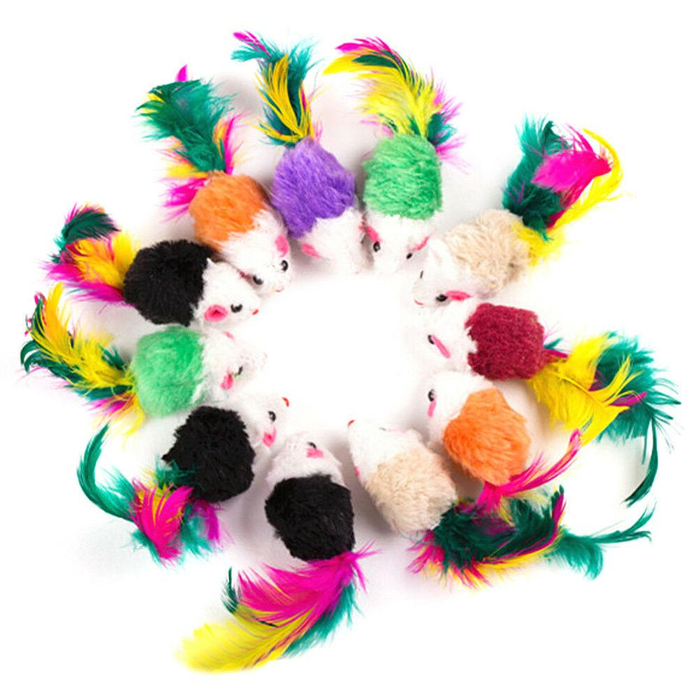 10pcs False Mouse Cat Toy For Cats with Colorful Feather