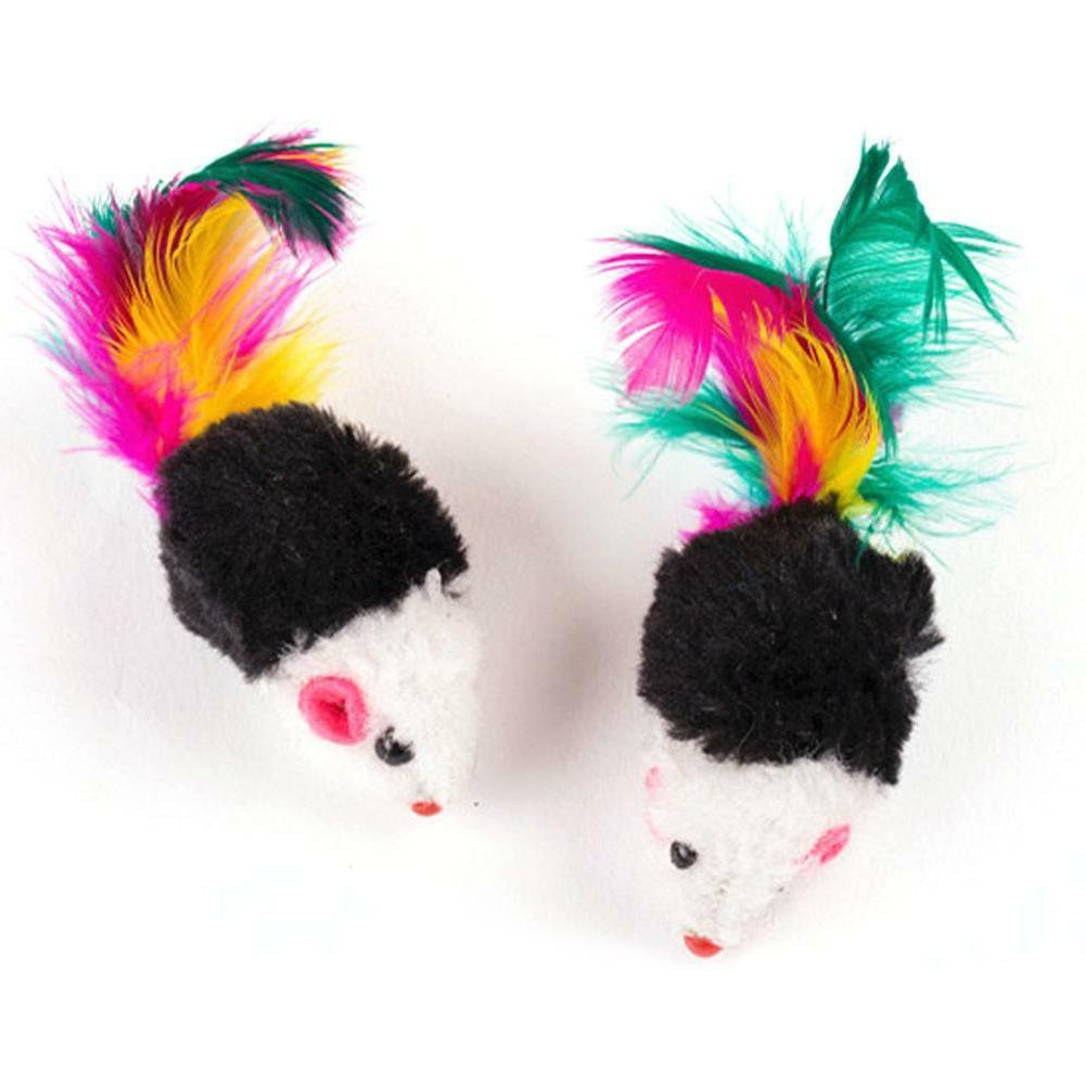 10pcs False Mouse Cat Playing Toy Colorful Feather