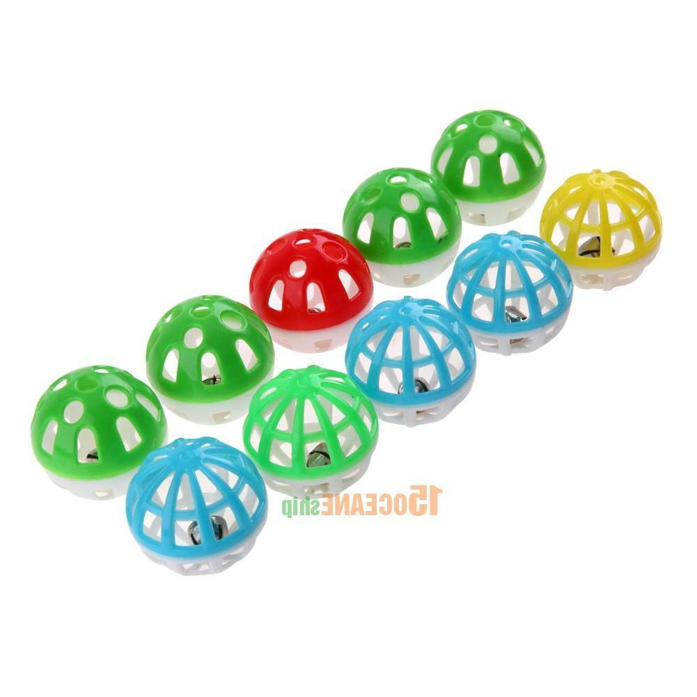10pcs Plastic Out Round Pet Colorful Play Bell Pounce