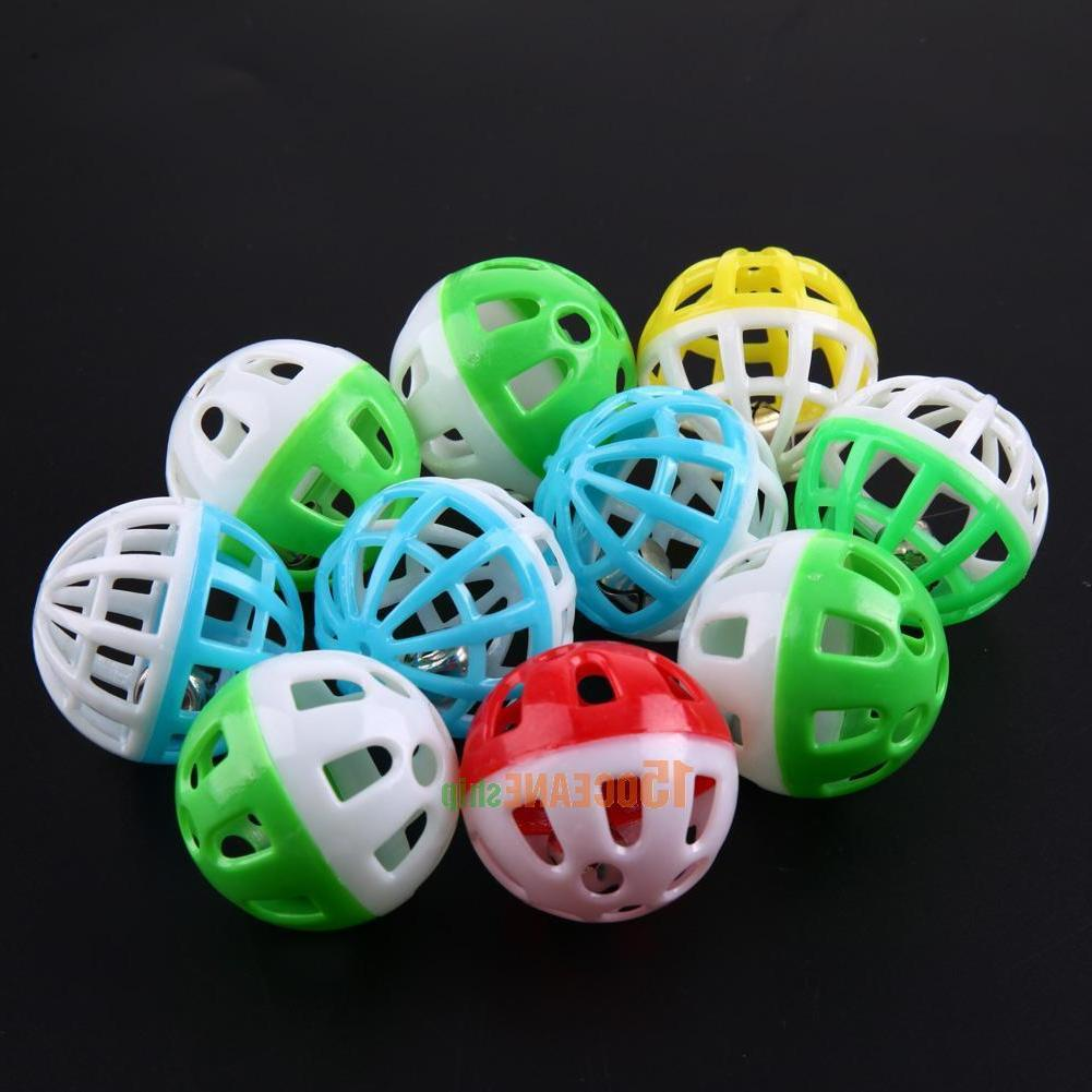 10pcs Plastic Round Cat Play Ball Bell Pounce