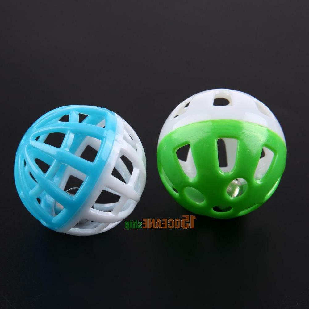 10pcs Plastic Hollow Round Pet Play Ball Toys With Bell