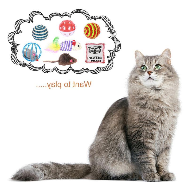 10Pcs Cat Lot Bulk Mice Catnip Kitty Kitten Interactive Toys