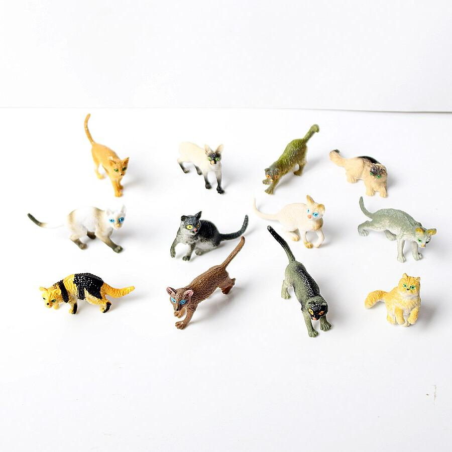 12 Assorted Plastic 2 Figure <font><b>Toys</b></font> Educational <font><b>Cat</b></font> Figures Set <font><b>Toy</b></font> Figure,<font><b>Cat</b></font> Girl Figures