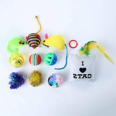 14Pcs Pet Toys Set Bulk Mice Balls Catnip Pet Play