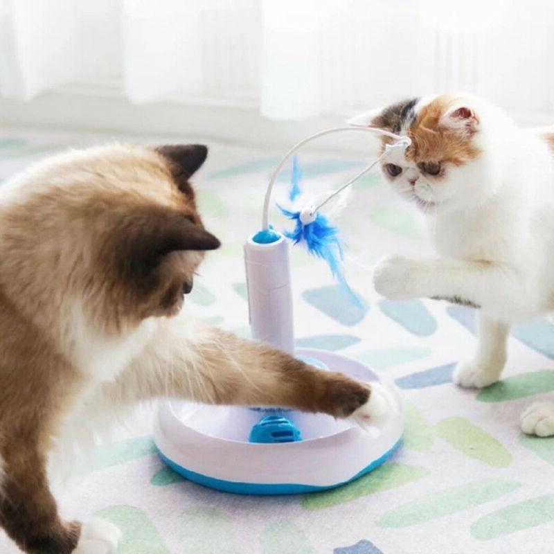 1pc feather pet rotating funny cat toys