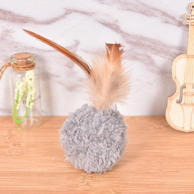 1x feather round plush ball scratching toy with catnip
