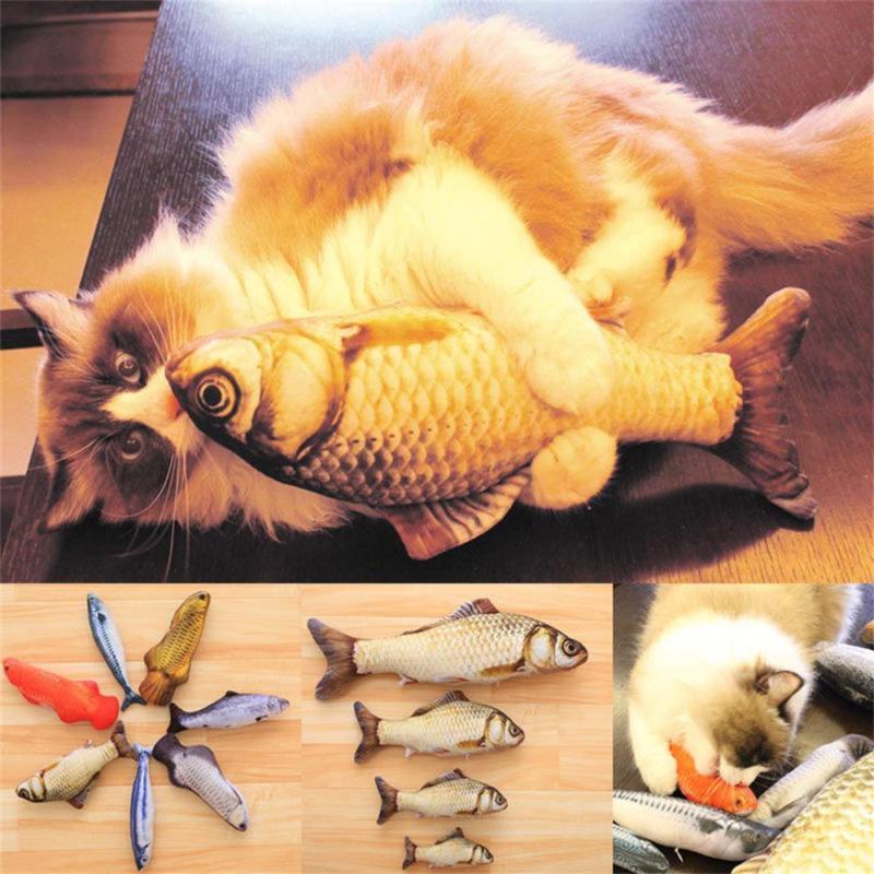 1XArtificial Fish Plush Pet Cat Sleeping Toy Cat Catnip