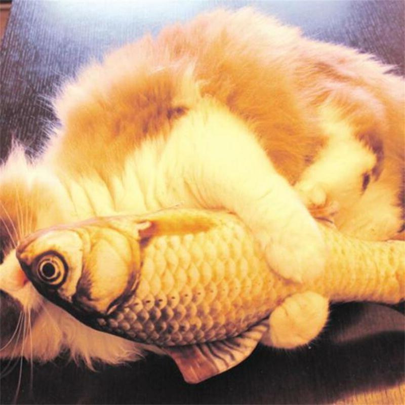 1XArtificial Fish Plush Cat Puppy Sleeping Mint Catnip