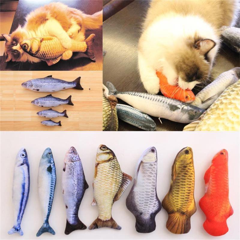 1xartificial fish plush pet cat puppy dog