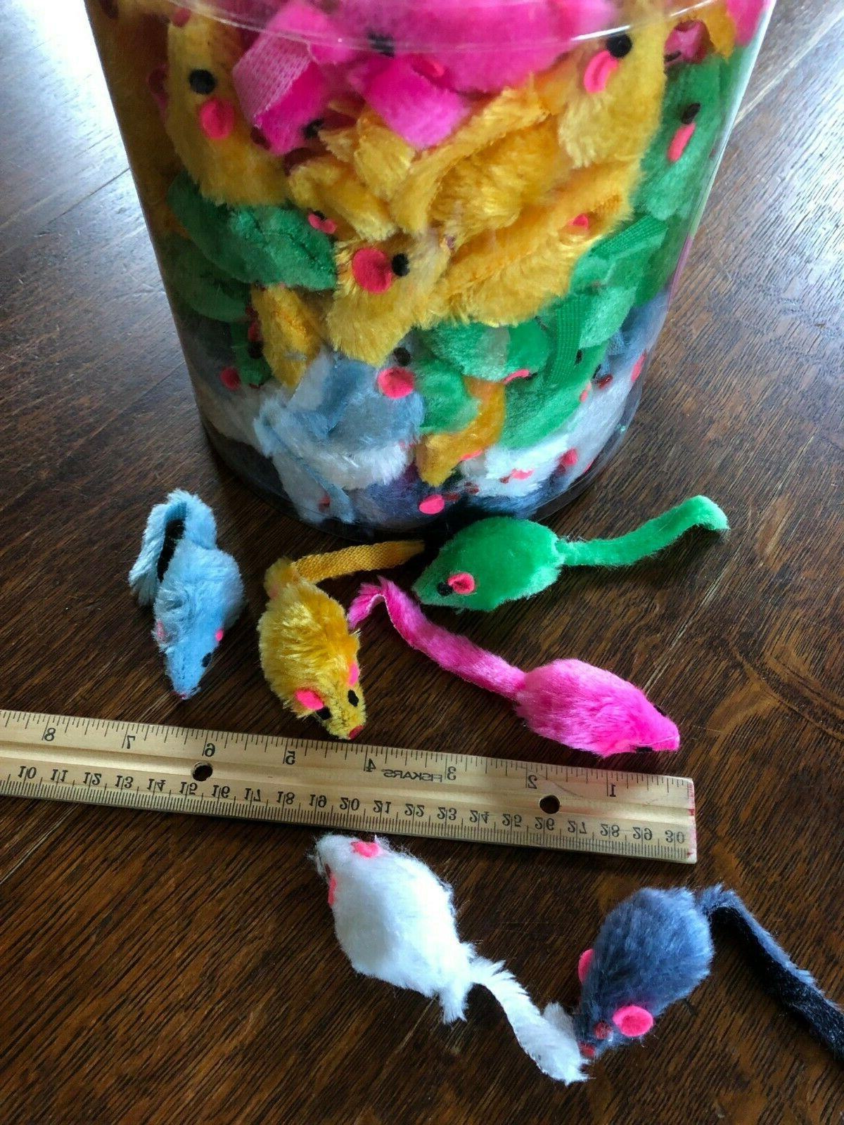 "2"" CAT TOYS Rattles Humane Fuzzy Fur Fake Mice Lots"