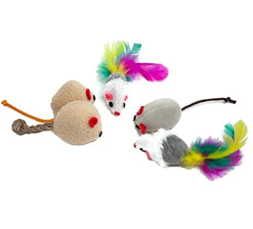 Youngever Cat Toys Kitten Toys Way Cat Teaser - Interactive Feather Toy Crinkle Balls Puppy, Kitten