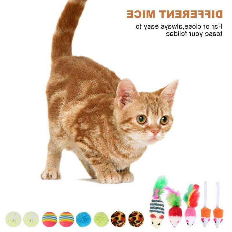 20pcs Cat Play Toys Rod Balls