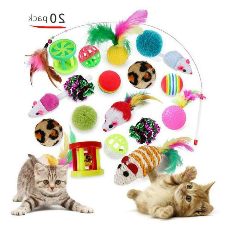 Pet Cat Toys 20pcs Lot Bulk Mice Balls Bell Catnip Play Toy