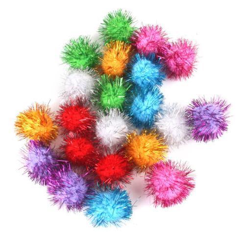 "21x Fluffy Craft Pompoms Ball Kids Cat Dog Toy DIY Large 1.7"""