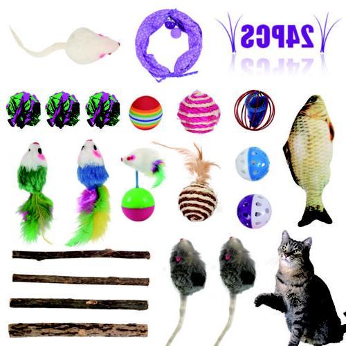 24Pcs Set Catnip Pet Kitty Play Toy